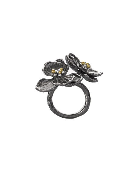 Double Orchid Ring w/ Diamonds