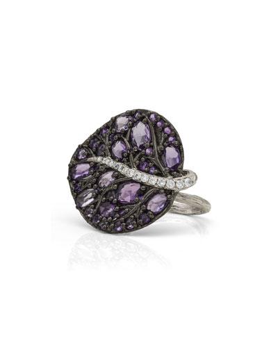 Botanical Leaf Amethyst & Diamond Ring