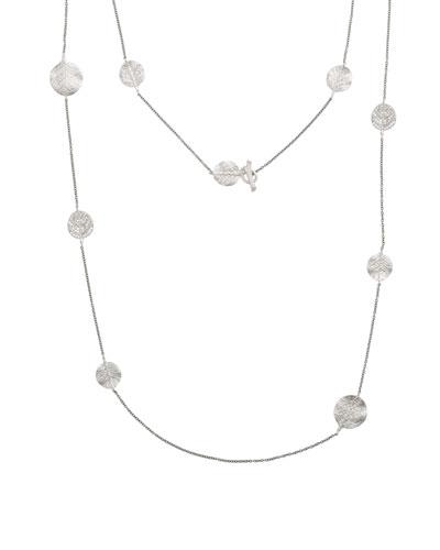 Botanical Leaf Long Diamond Station Rhodium Necklace, 42