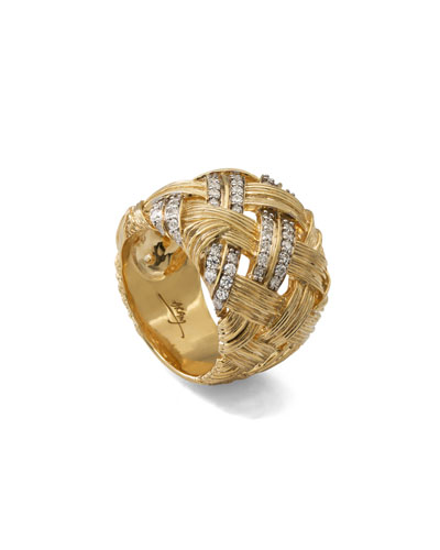 Palm Woven 18k Gold & Diamond Band Ring