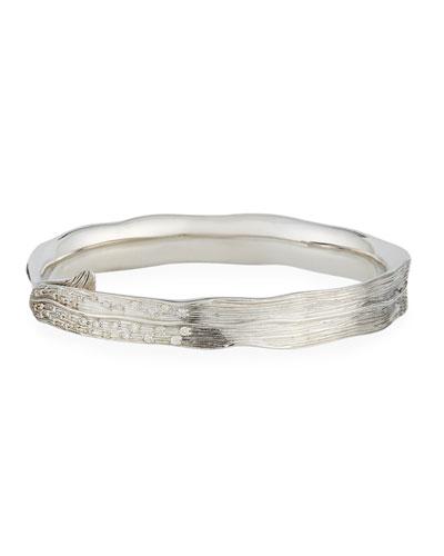 Sterling Silver Wide Palm Diamond Bracelet