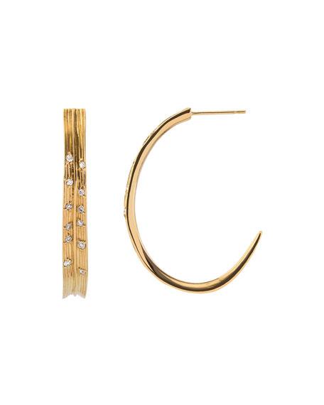 18k Palm Hoop Earrings w/ Diamonds