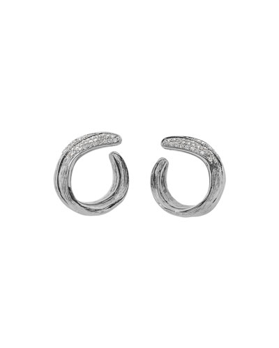 Palm Crescent Earrings w/ Diamonds