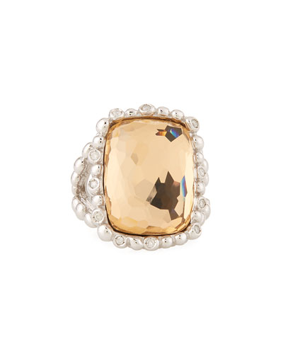 Molten 18k Gold Cushion Ring w/ Diamonds