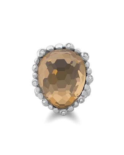 Molten Pear Ring w/ 18k & Crystal Doublet