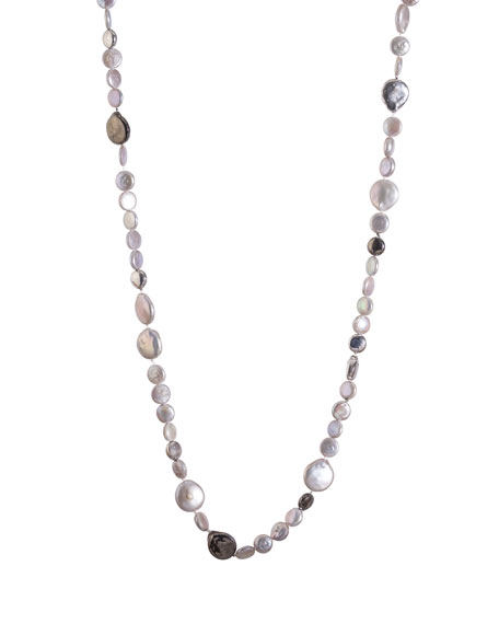 Molten Long Necklace w/ Gray Freshwater Pearls, 32""