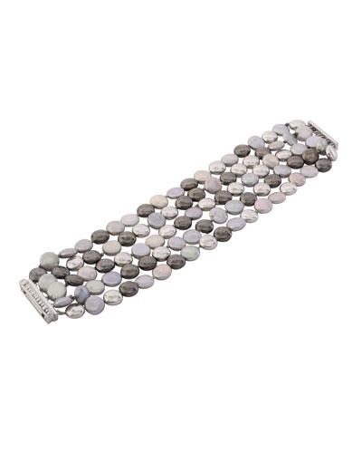 Molten Five-Strand Bracelet w/ Pearls