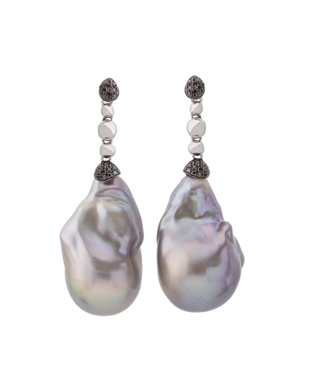 Molten Drop Earrings W Gray Baroque Pearls