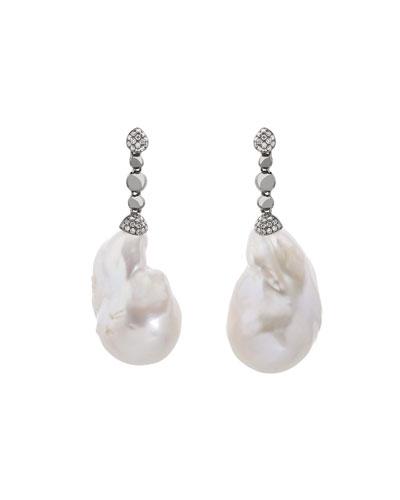 Molten Drop Earrings w/ White Baroque Pearls