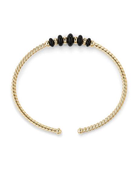 18k Gold Rio Rondelle Cabled Cuff Bracelet w/ Black Onyx, Size M