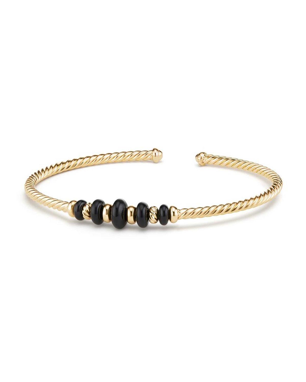 18k Gold Rio Rondelle Cabled Cuff Bracelet W Black Onyx Size M