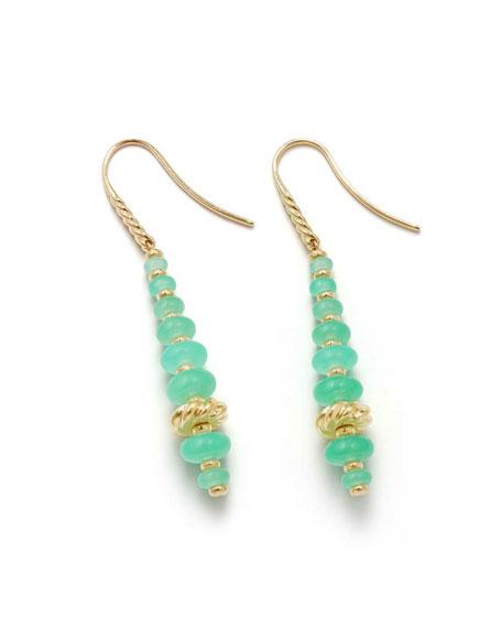 18k Gold Rio Rondelle Drop Earrings in Chrysoprase