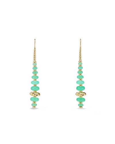 18k Gold Rio Rondelle Drop Earrings in Chrysoprase