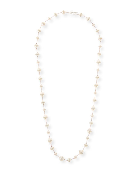 Crystal-Inlay Freshwater Pearl Strand Necklace, 34""
