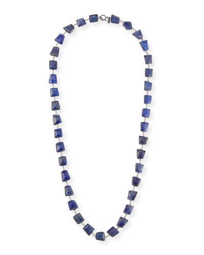 Long Silver Lapis Station Necklace, 35