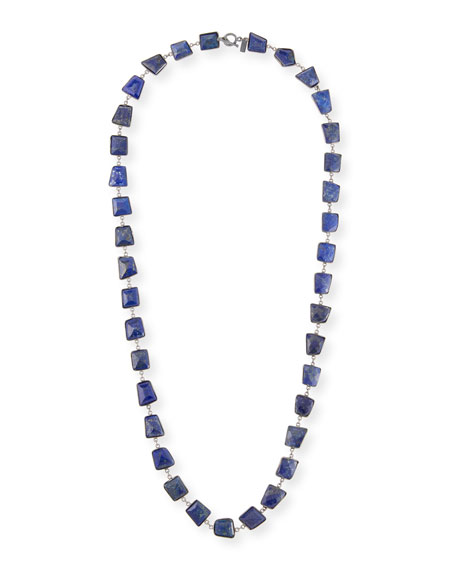 Long Silver Lapis Station Necklace, 35""