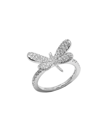 18k White Gold Nature Diamond Dragonfly Ring