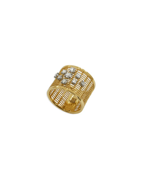 18k Gold Renaissance Dancing Diamond Ring, Size 7