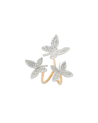 18k Rose Gold Nature Triple Diamond Butterfly Ring