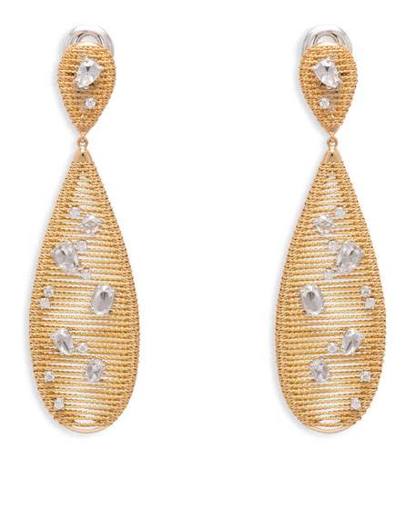 18k Yellow Gold Renaissance Diamond Pear Drop Earrings