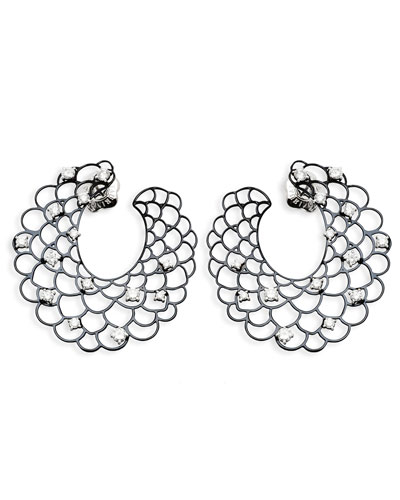 18k White Gold Open Diamond Crescent Earrings