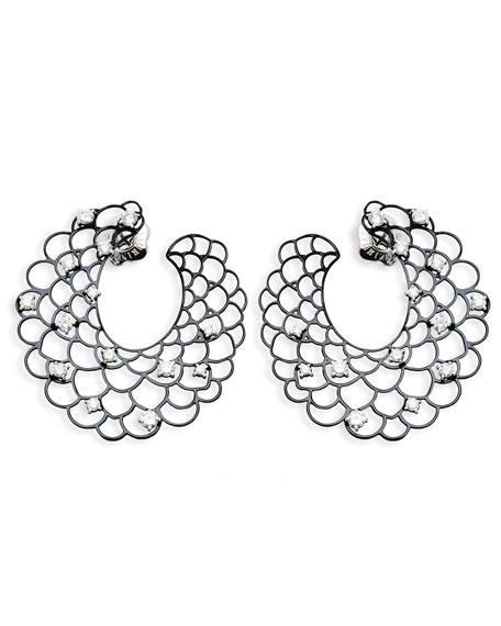 18k White Gold Open Diamond Crescent Earrings