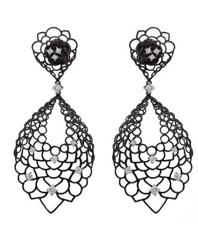 18k White Gold Moresca Diamond Oval Drop Earrings