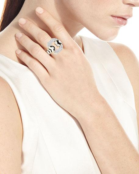 18k Chevron Enamel Ring w/ Diamonds, Size 6.5