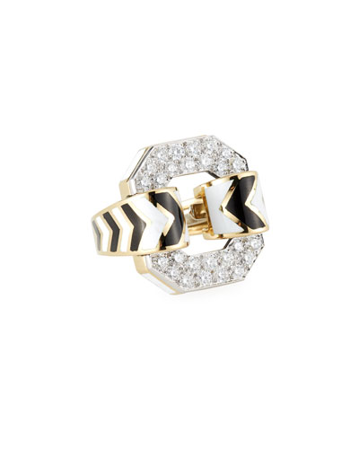 18k Chevron Enamel Ring w/ Diamonds  Size 6.5