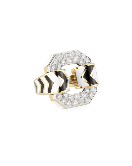 David Webb 18k Chevron Enamel Ring w/ Diamonds, Size 6.5