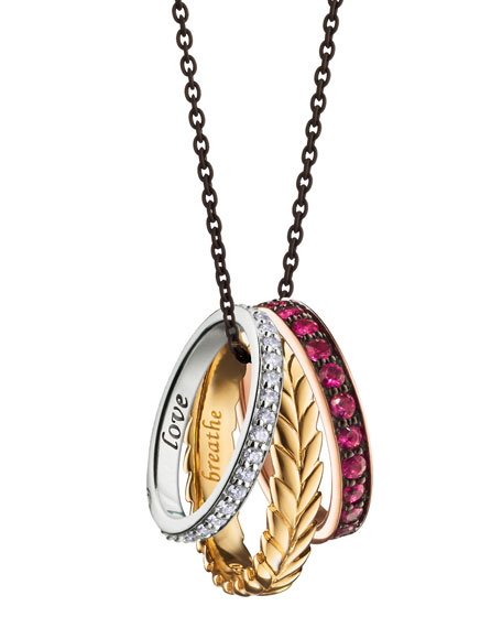 Monica Rich Kosann 18K Yellow, Rose and White Gold Thankful Poesy Ring Necklace