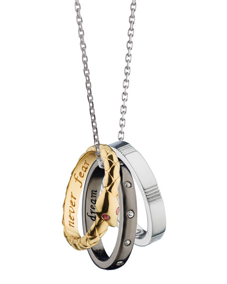 "18K Yellow Gold and Sterling Silver ""Empowerment"" Poesy Ring Necklace"