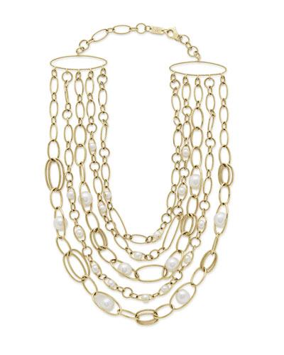 18k Gold Nova 5-Strand Collar Necklace w/ Pearls