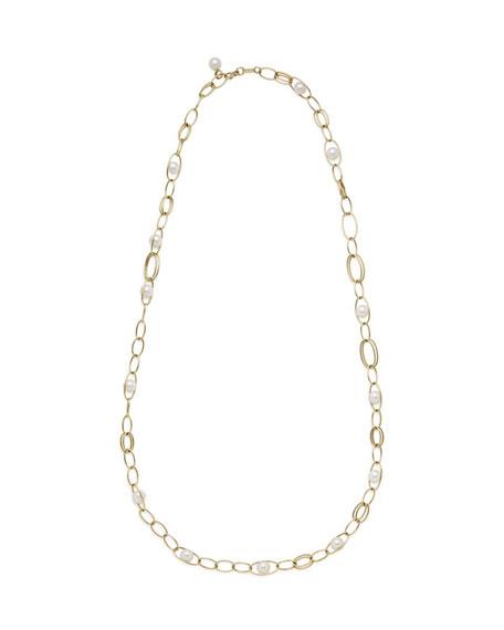 "18k Gold Nova Link Necklace w/ Pearls, 36"""