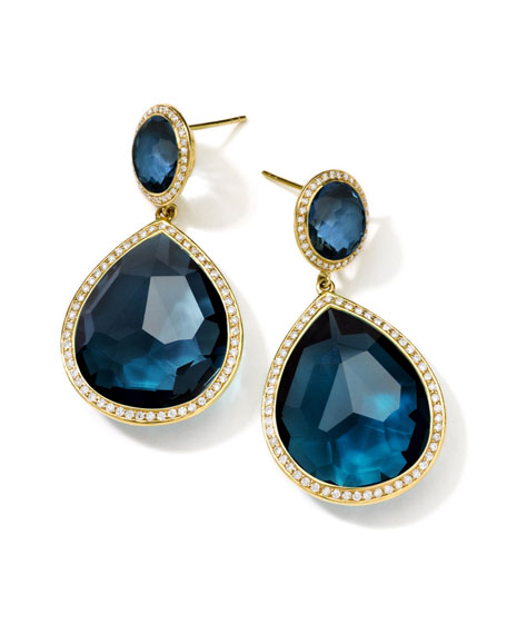 18K Gold Rock Candy Teardrop Earrings in London Blue Topaz with Diamonds