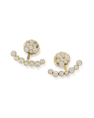 18k Gold Starlet Diamond Mini Bar Jacket Earrings