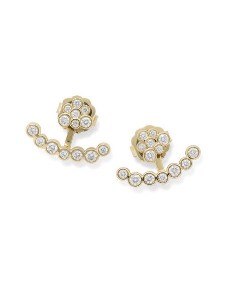 18k Gold Starlet Diamond Mini Bar Jacket Earrings