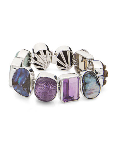 One-of-a-Kind Mixed-Cut Multicolor Stone Bracelet