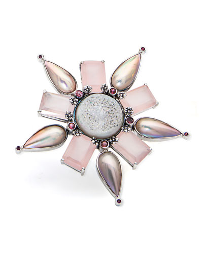 One-of-a-Kind Multi-Stone Flower Pendant