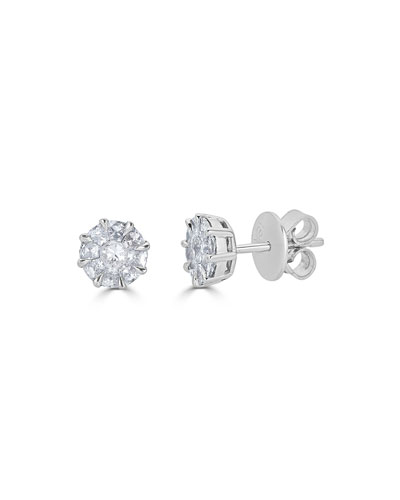 18k Mosaic Round Diamond Stud Earrings
