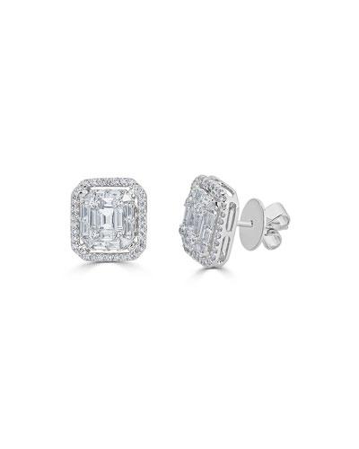 18k Mosaic Mixed-Cut Diamond Stud Earrings