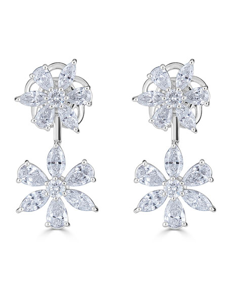 18k Luminal Diamond Double Flower Earrings