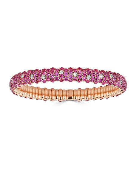 18k Stretch Sapphire & Diamond Bracelet, Pink