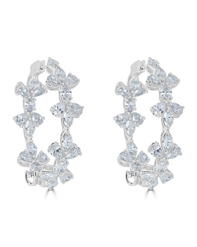 18k Luminal Mixed Diamond Hoop Earrings
