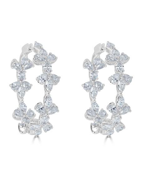 18k Luminal Mixed Diamond Hoop Earrings