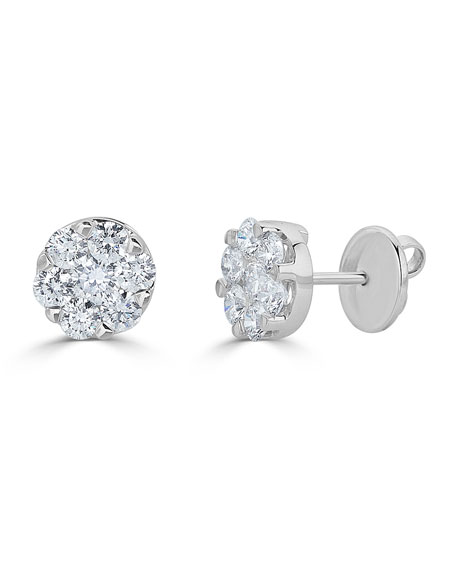 18k White Gold Mosaic Round Diamond Stud Earrings