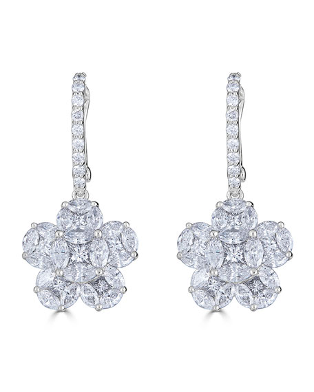 18k Mosaic Flower Diamond Drop Earrings
