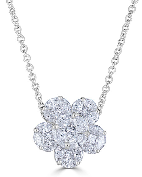 18k Mosaic Flower Diamond Pendant Necklace