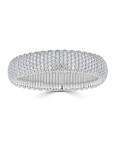 18k White Gold Wide Stretch Diamond Bracelet