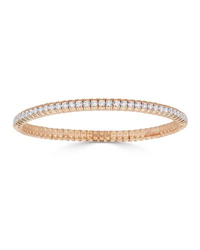18k Rose Gold Stretch Diamond Bracelet, 3.8tcw